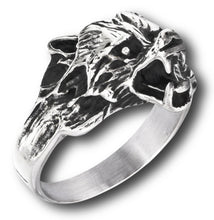 Load image into Gallery viewer, side view of wolf ring