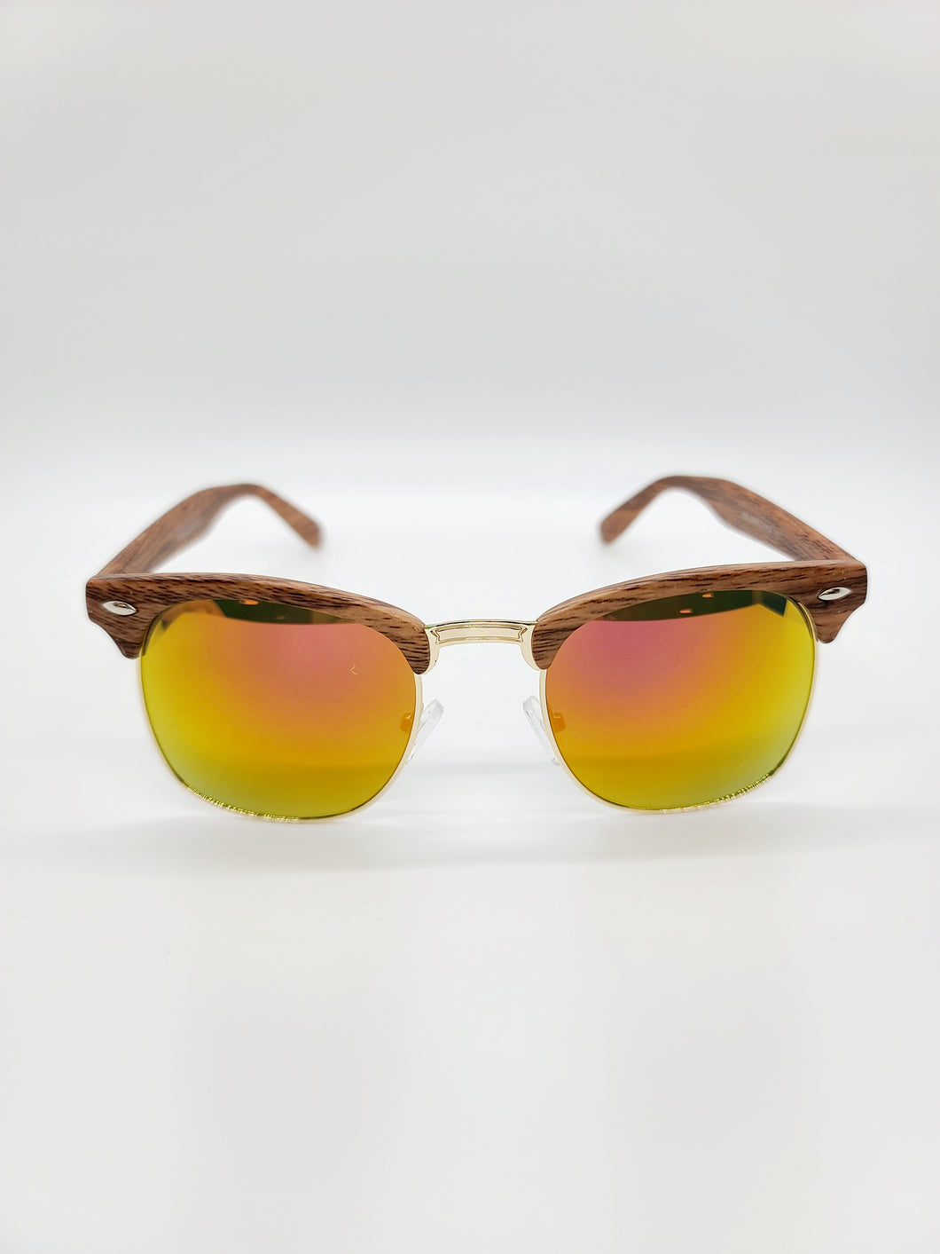 Aviator style sunglasses with wood pattern frames and yellow/orange lenses