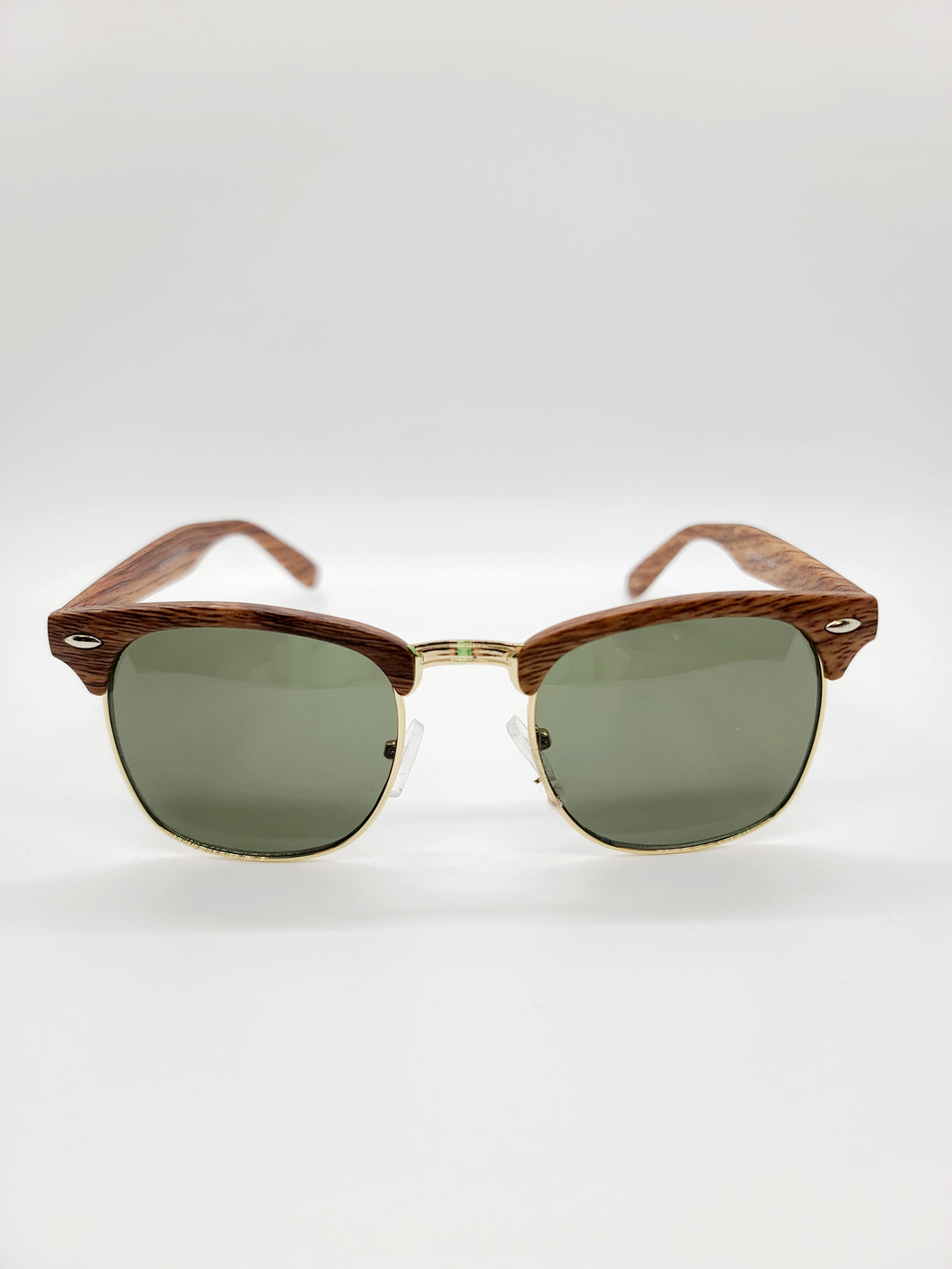 Aviator style sunglasses with wood trim and black lenses
