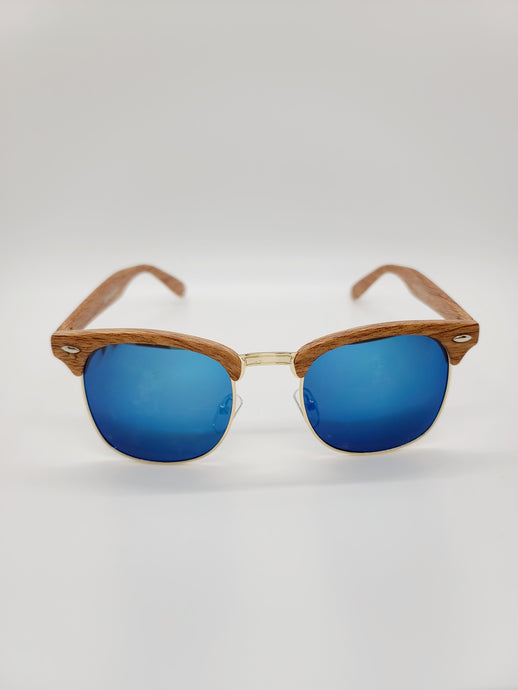 Aviator style sunglasses with wood pattern frames and blue lenses