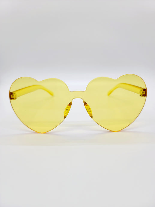 clear yellow plastic heart shaped sunglasses