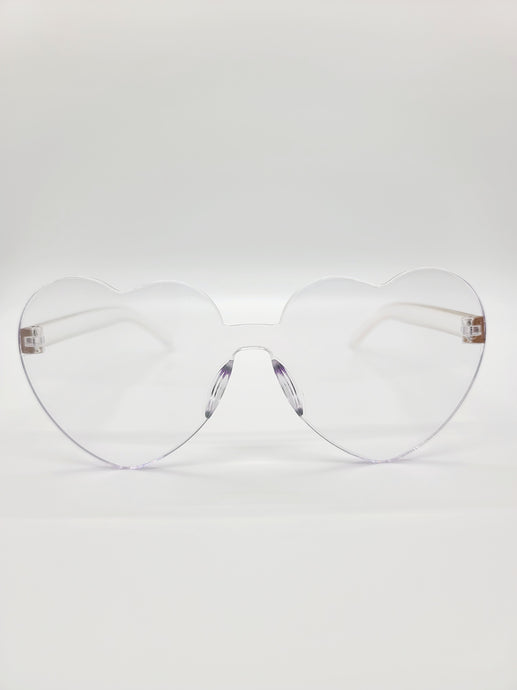 clear plastic heart shaped sunglasses