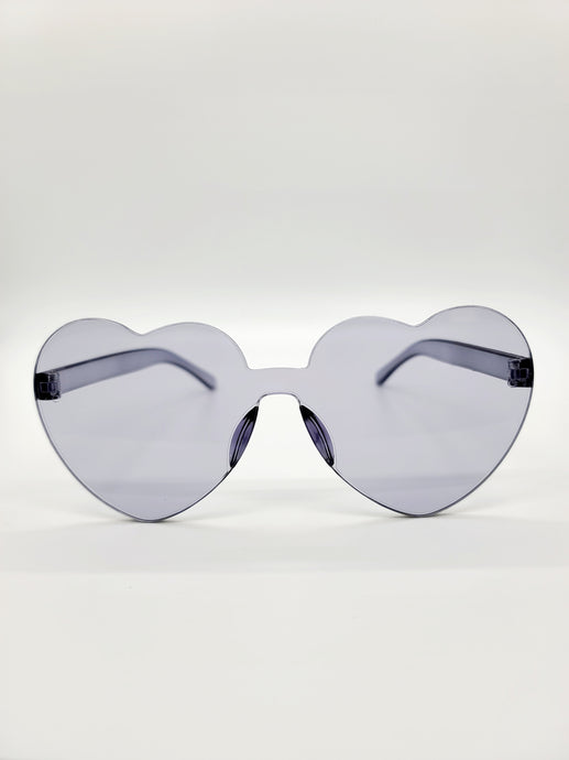 clear gray plastic heart shaped sunglasses