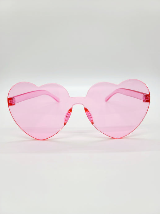 clear pink plastic heart shaped sunglasses