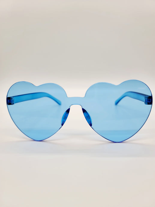 Clear blue plastic heart shaped sunglasses