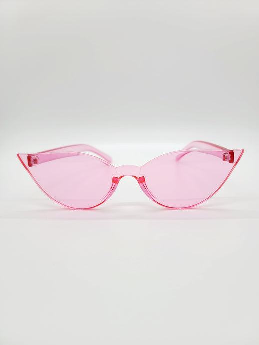 clear pink plastic cat eye sunglasses