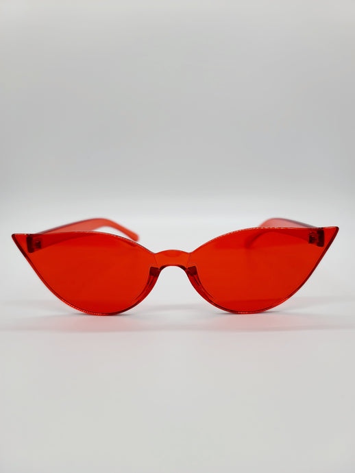clear red plastic cat eye sunglasses