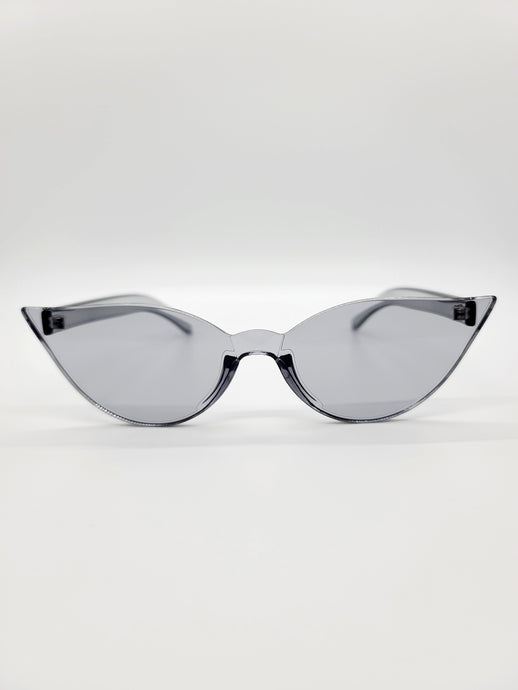 clear gray plastic cat eye sunglasses