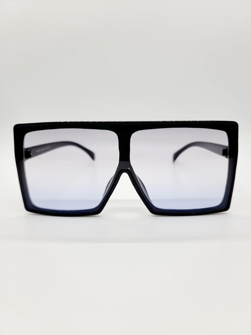 black large square sunglasses with gray ombre lenses