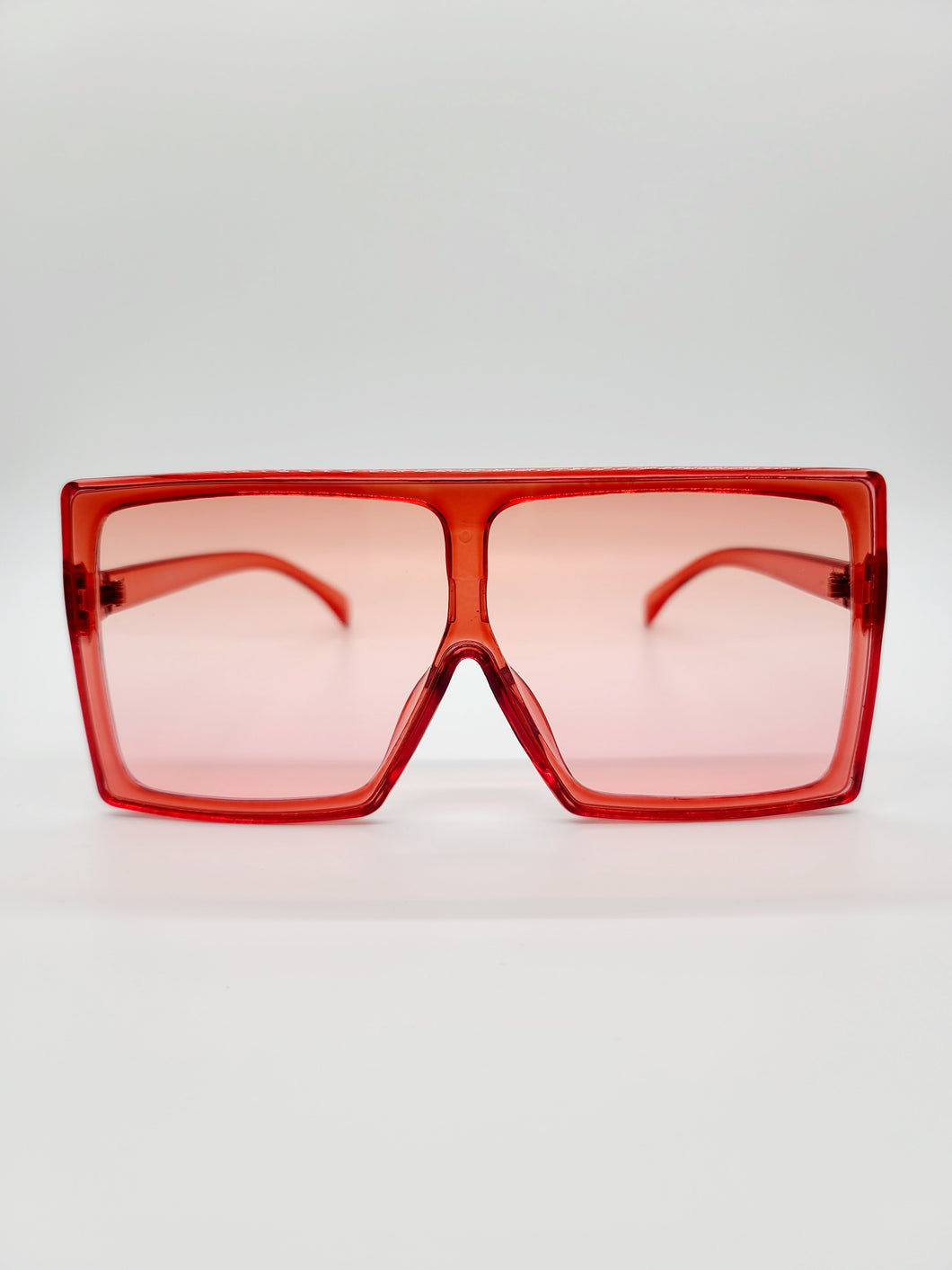 Red large square sunglasses with ombre lenses