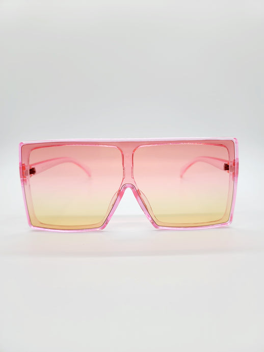 pink large square sunglasses with pink and yellow ombre lenses