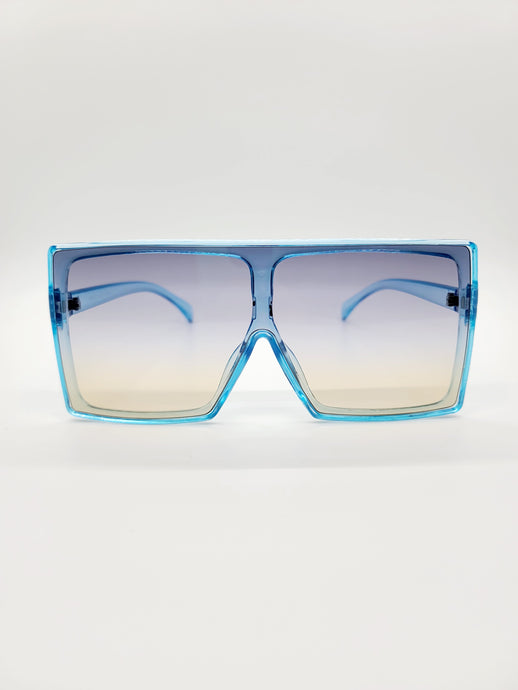 blue large square sunglasses with blue and yellow ombre lenses