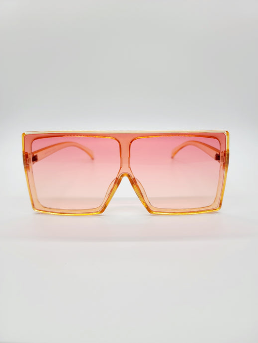 orange large square sunglasses with pink and yellow ombre lenses