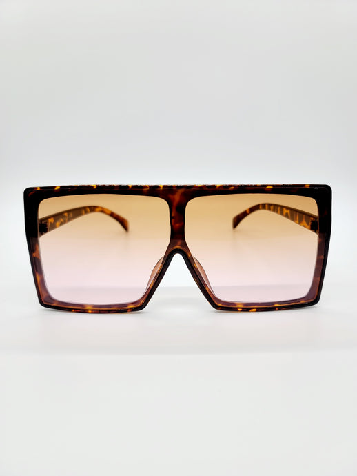 Brown tortoise large square sunglasses with ombre lenses