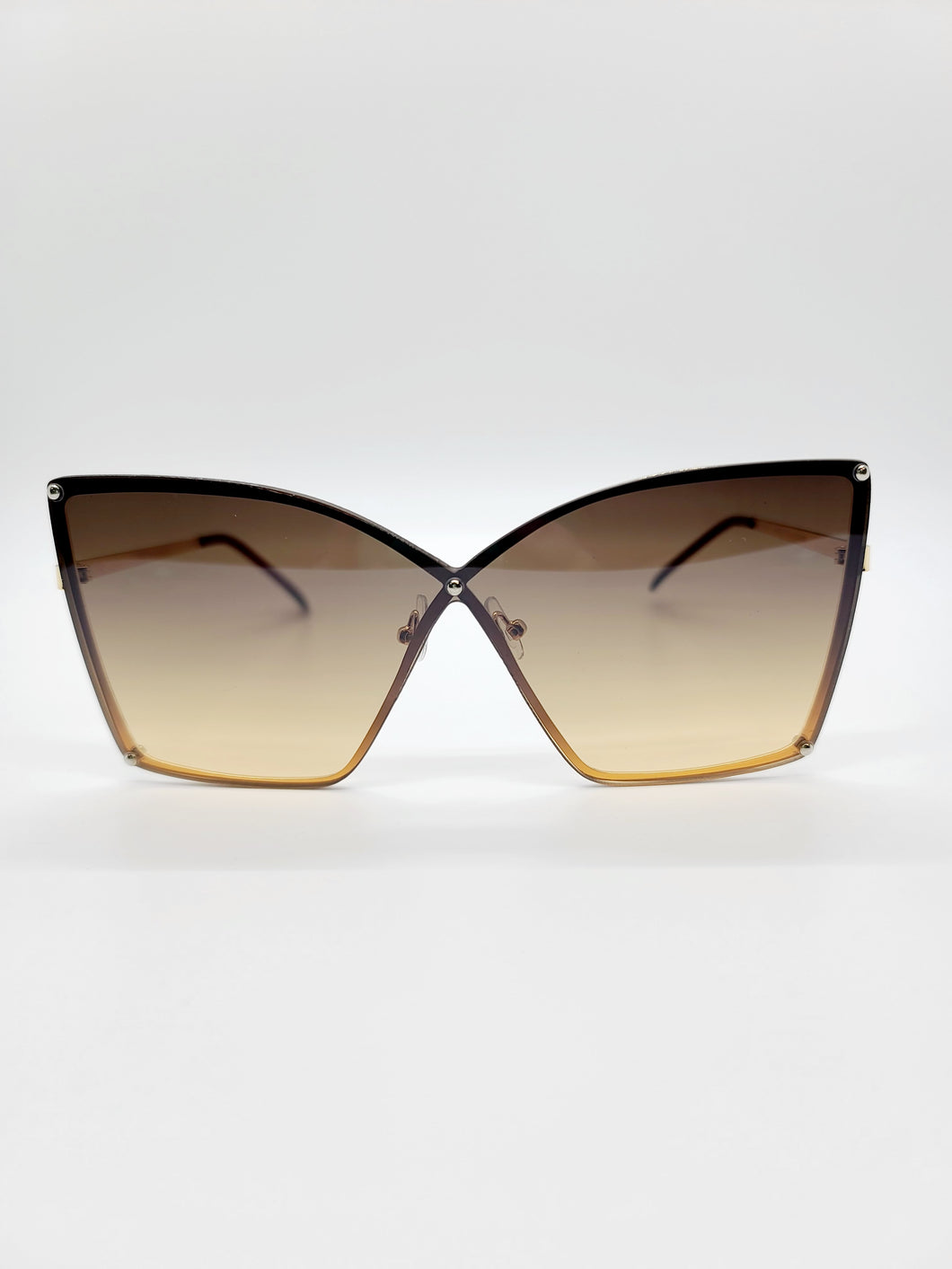 brown and gold wire frame ombre lens sunglasses