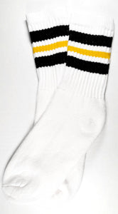 Black yellow black crew socks