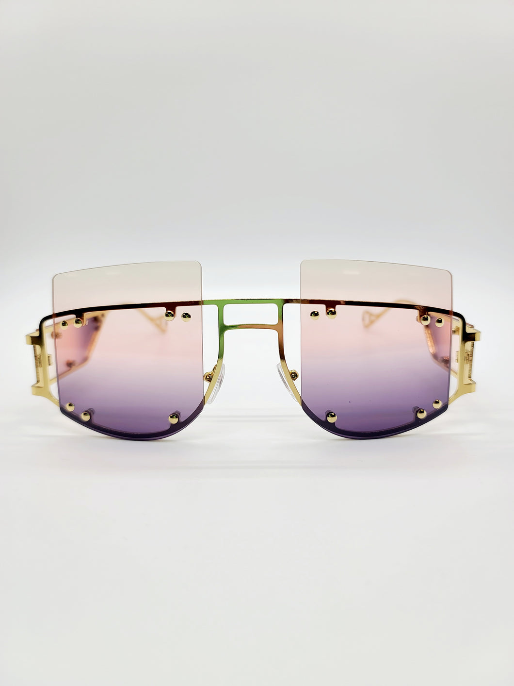 light pink and purple square top metal detail sunglasses