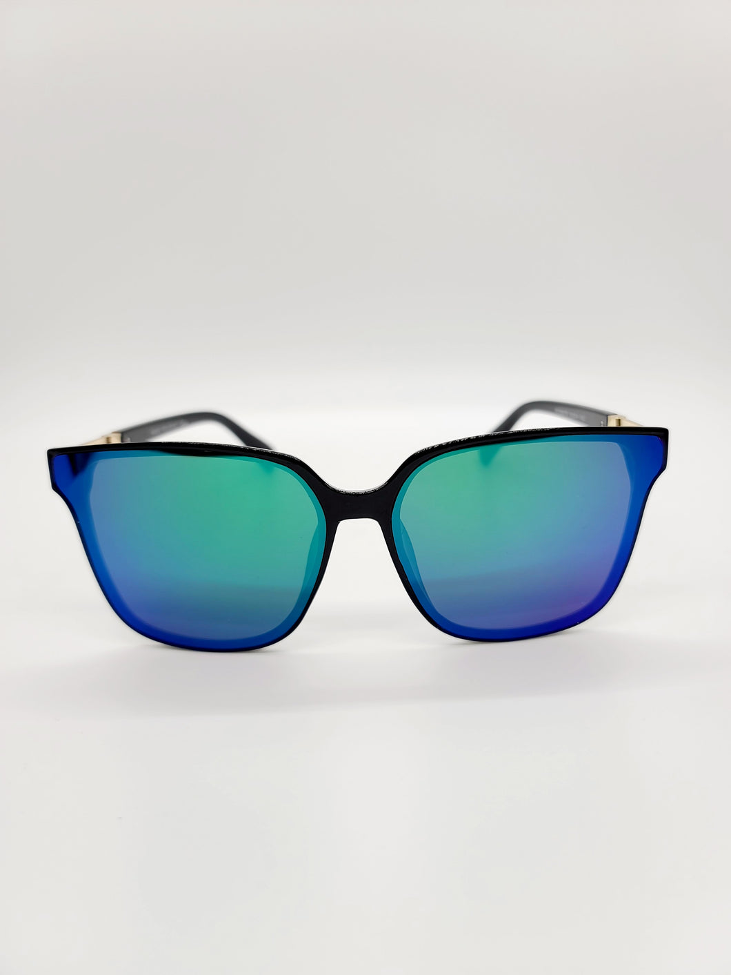 green and purple reflective lens sunglasses with metal arm detail