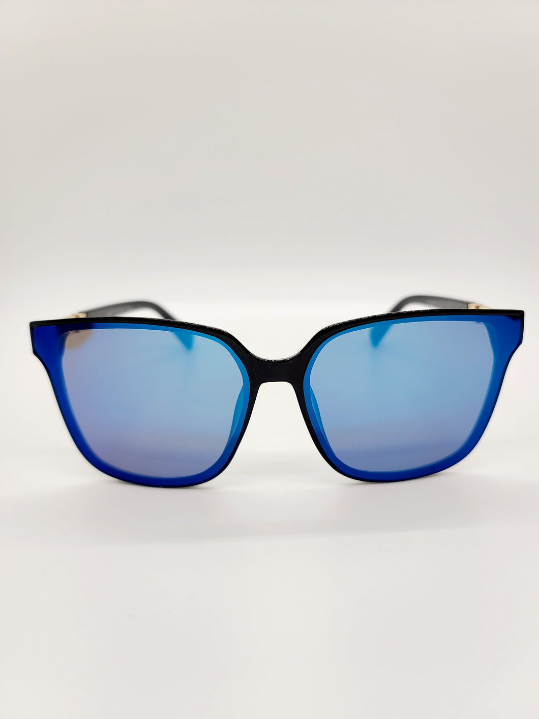 blue reflective lens sunglasses with metal arm detail