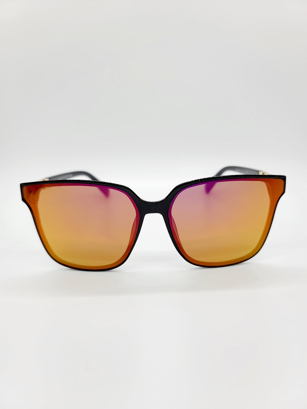 orange and hot pink reflective lens sunglasses with metal arm detail