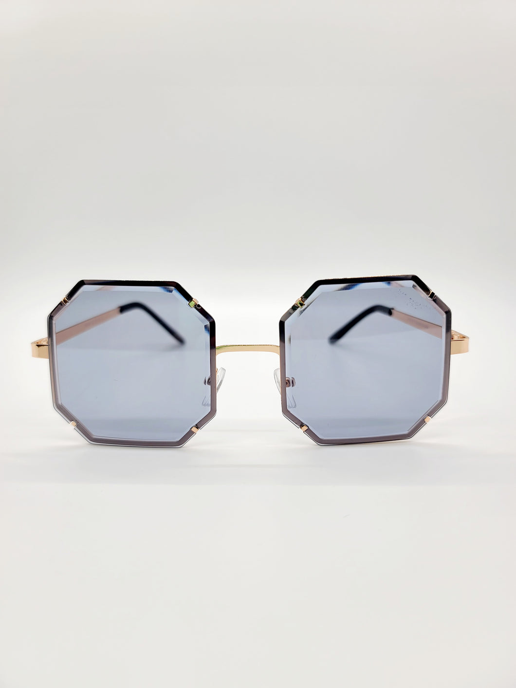 gray octagonal wire frame sunglasses