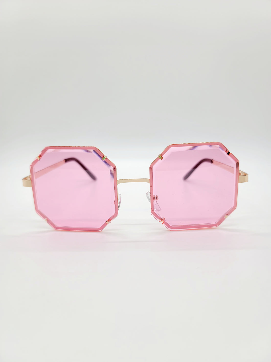 pink octagonal wire frame sunglasses