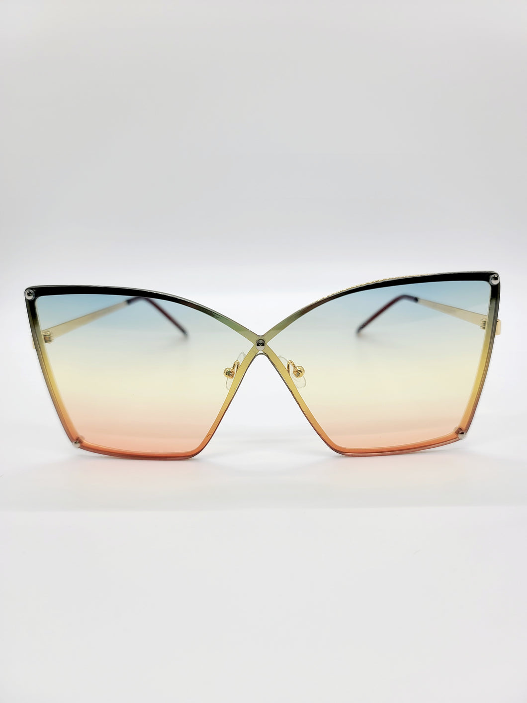 blue, yellow and coral wire frame ombre lens sunglasses
