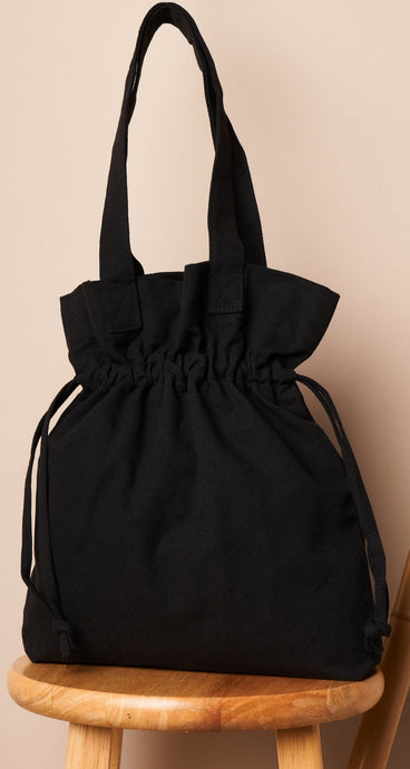Black drawstring large tote bag