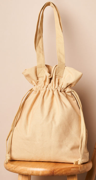 Ivory drawstring large tote bag