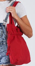 Load image into Gallery viewer, Red drawstring large tote bag