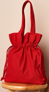 Red drawstring large tote bag