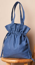Load image into Gallery viewer, Navy blue drawstring large tote bag