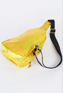 back of neon yellow metallic single strap sling mini backpack