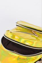 Load image into Gallery viewer, zipper compartment of neon yellow metallic single strap sling mini backpack