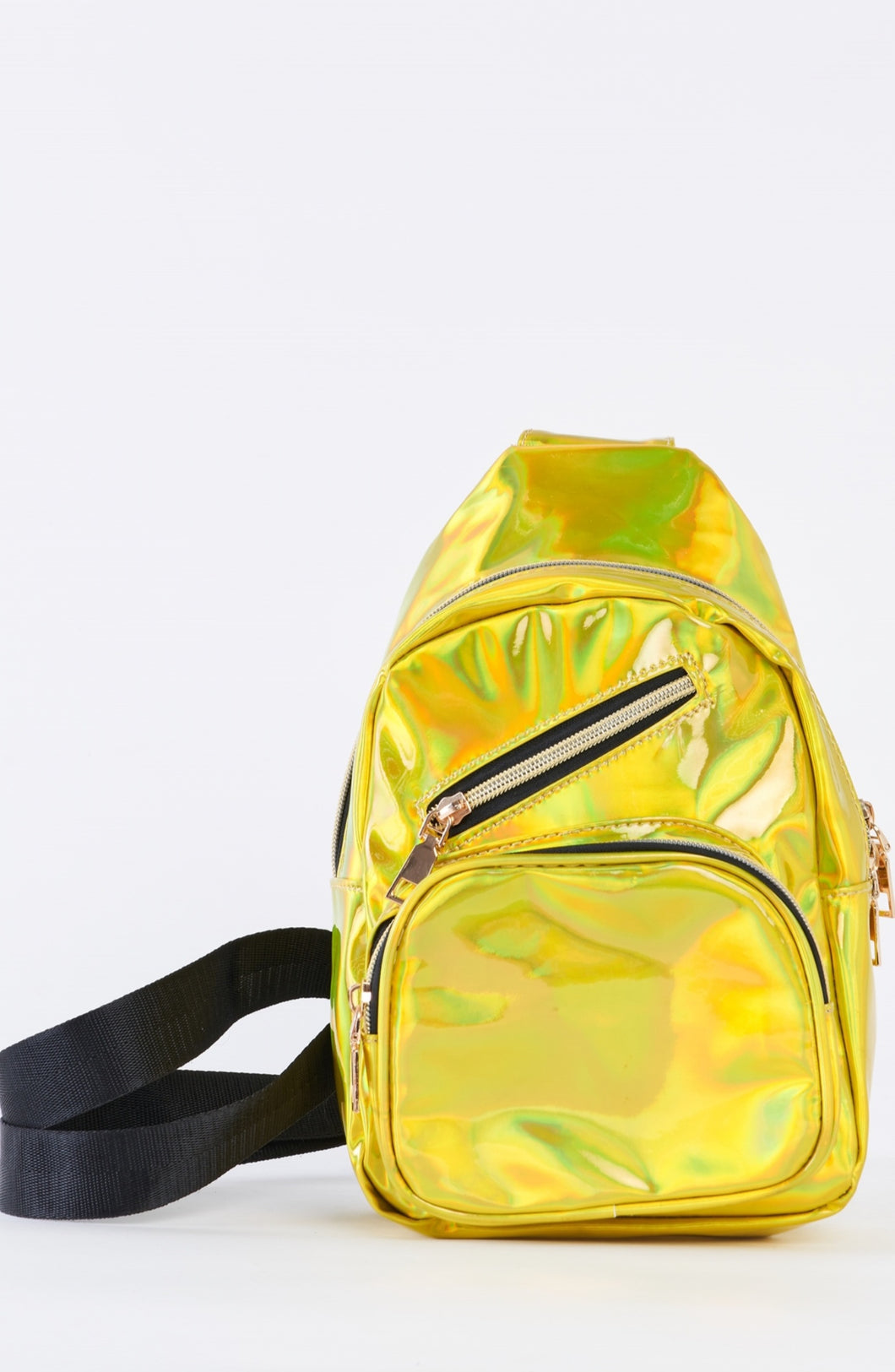Neon yellow metallic single strap sling mini backpack
