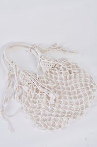 Ivory cotton fringe net bag