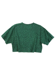 back of green cheetah print face graphic short sleeve crop tee