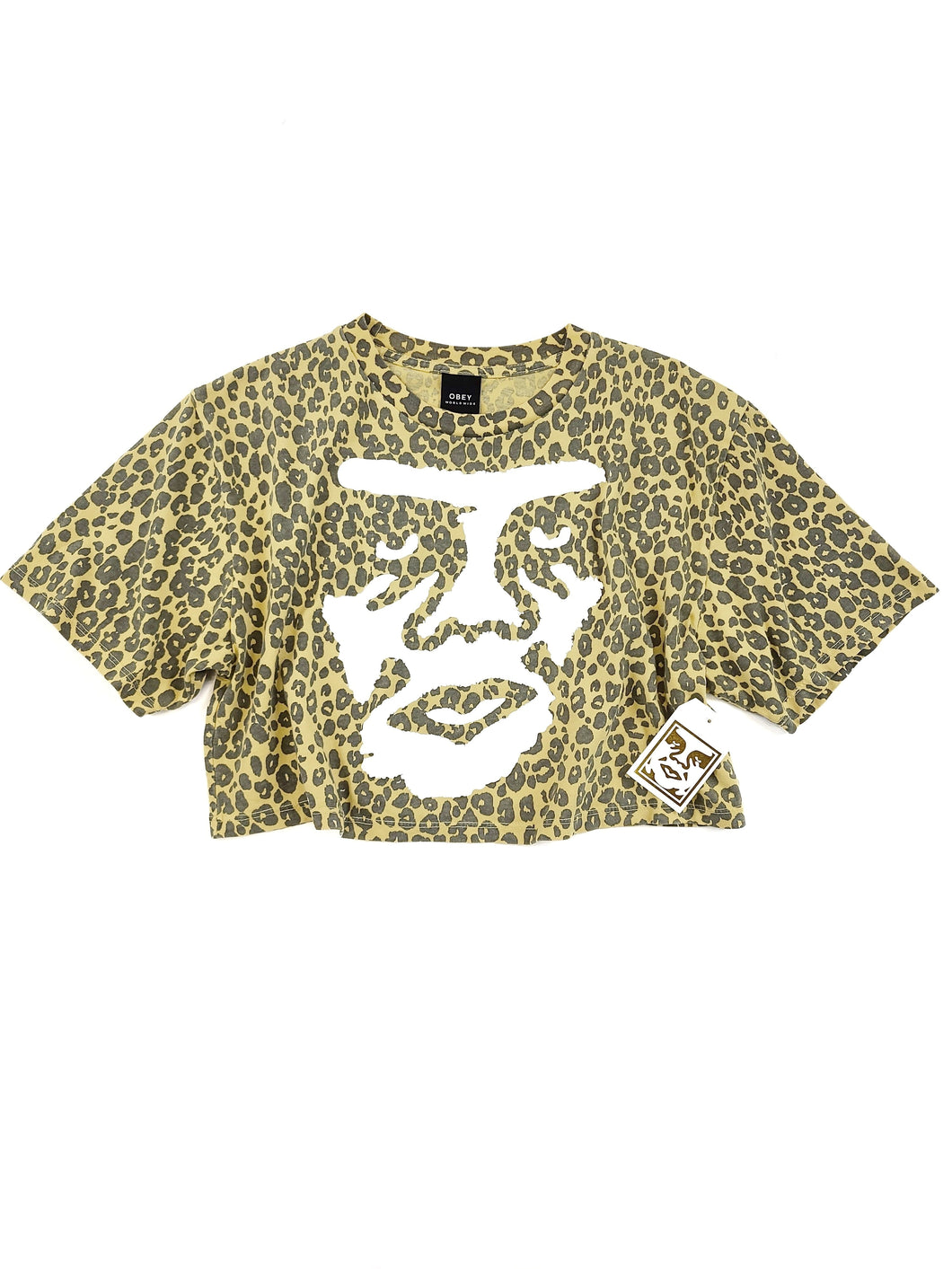 faded yellow cheetah print face graphic short sleeve crop tee