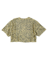 Load image into Gallery viewer, back of faded yellow cheetah print face graphic short sleeve crop tee