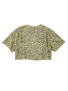 back of faded yellow cheetah print face graphic short sleeve crop tee