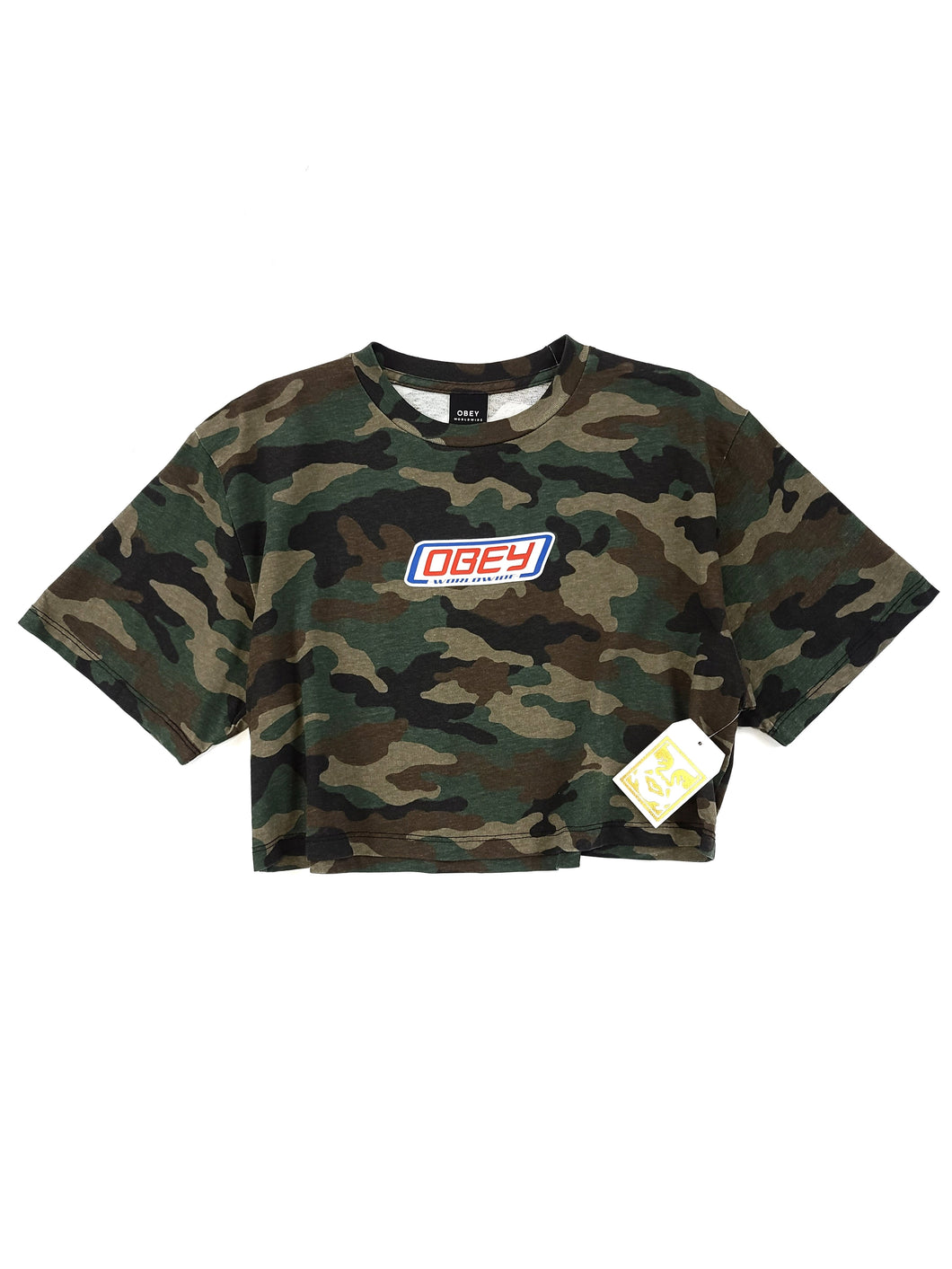 olive camouflage logo spell out short sleeve crop tee