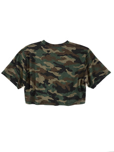 back of olive camouflage logo spell out short sleeve crop tee