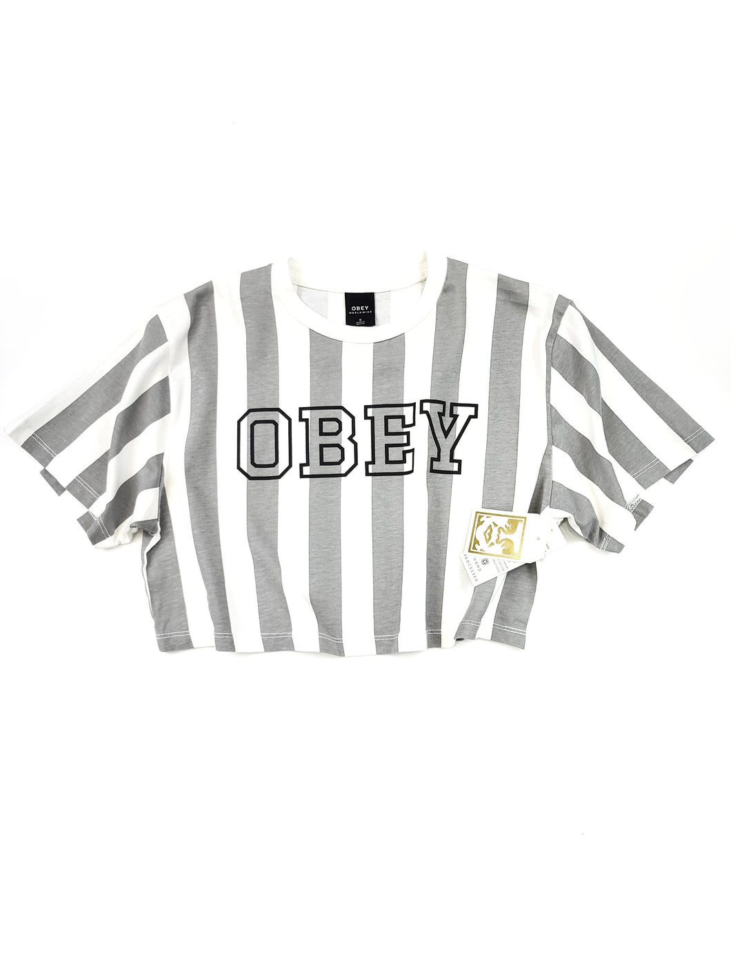 gray and white striped logo spell out short sleeve crop tee