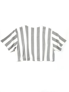 back of gray and white striped logo spell out short sleeve crop tee