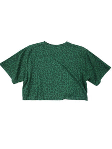 back of green cheetah print logo spell out short sleeve crop tee
