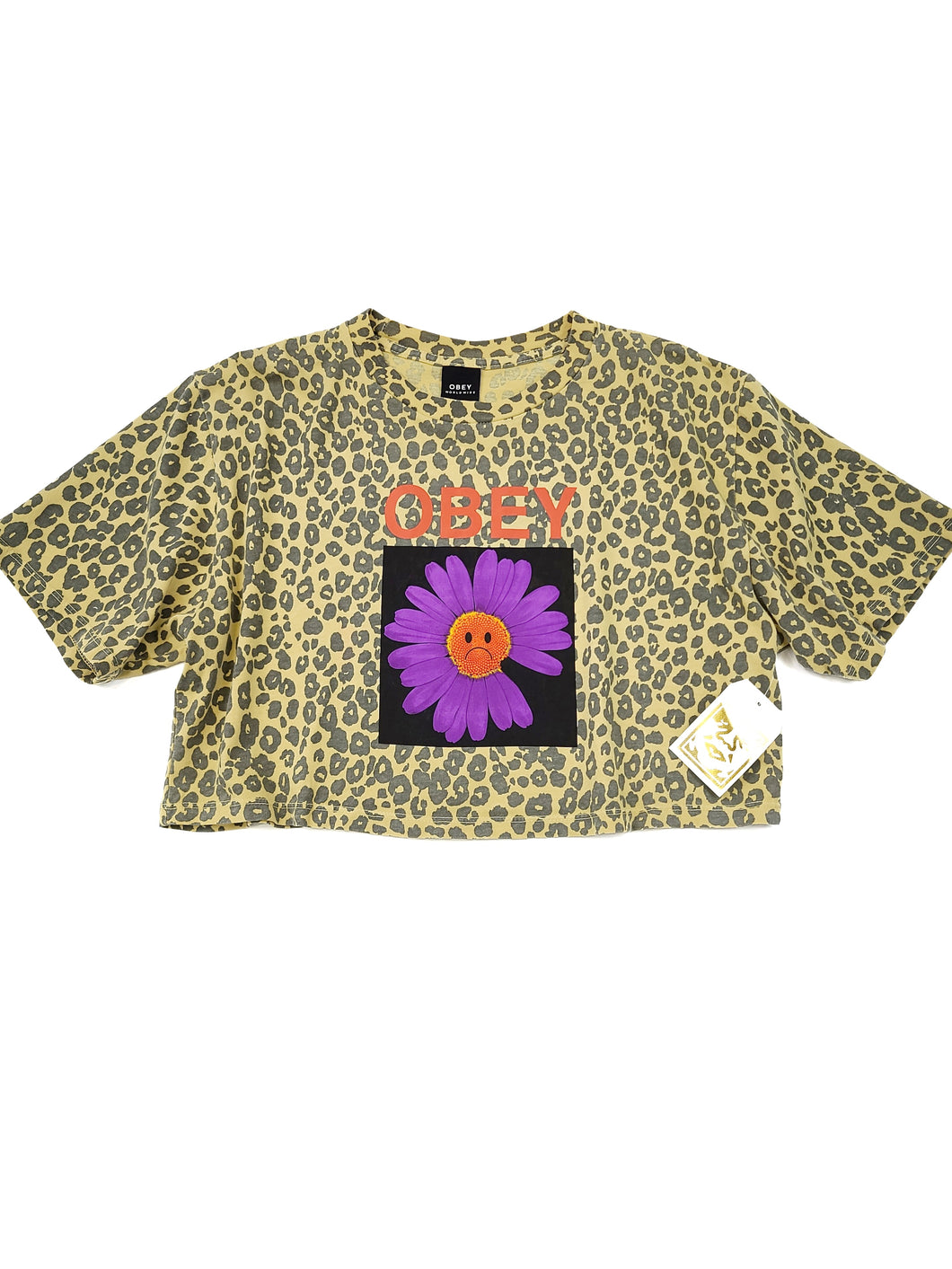faded yellow cheetah print flower graphic short sleeve crop tee