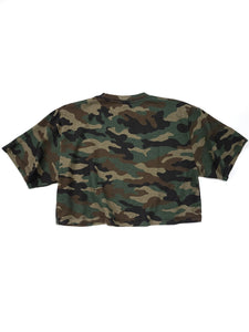 back of olive camouflage graphic logo spell out short sleeve crop tee