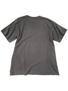 back of gray vintage look cracked graphic logo spell out short sleeve tee