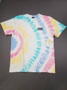 white tie dye front and back graphic short sleeve tee