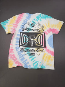 back of white tie dye front and back graphic short sleeve tee